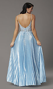 Image of long sky blue prom dress with pleated skirt. Style: DQ-4038 Back Image
