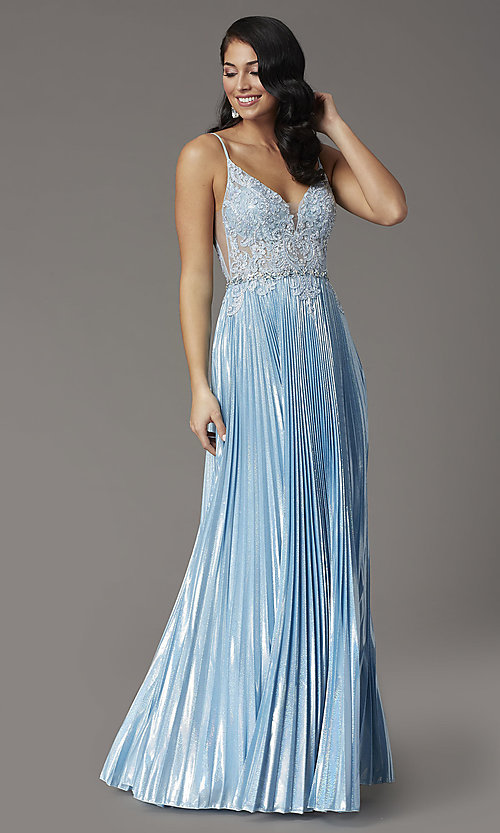 Image of long sky blue prom dress with pleated skirt. Style: DQ-4038 Front Image