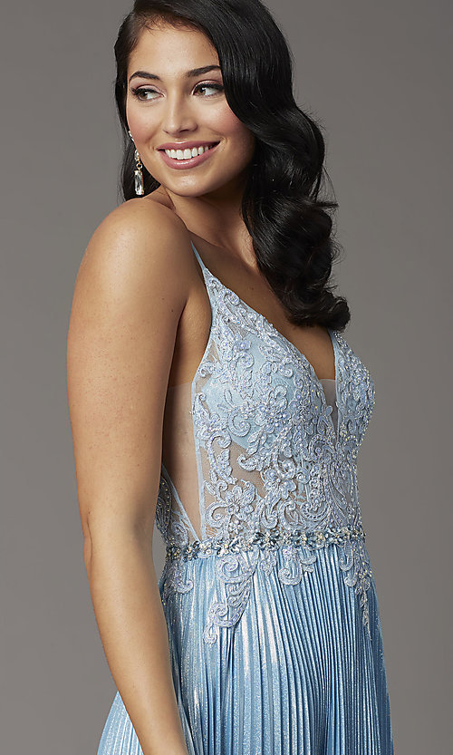 Image of long sky blue prom dress with pleated skirt. Style: DQ-4038 Detail Image 1