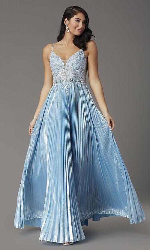 Image of long sky blue prom dress with pleated skirt. Style: DQ-4038 Detail Image 2