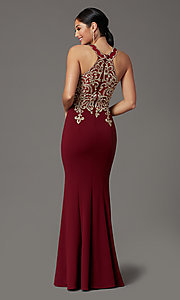 Image of long high-neck mermaid prom dress in burgundy red. Style: DQ-PL-2908 Back Image