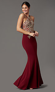 Image of long high-neck mermaid prom dress in burgundy red. Style: DQ-PL-2908 Detail Image 2