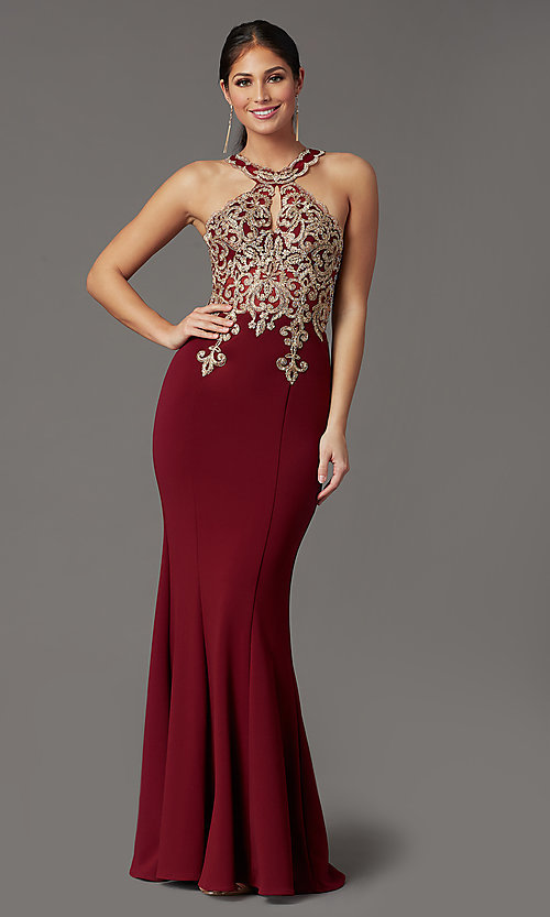 Image of long high-neck mermaid prom dress in burgundy red. Style: DQ-PL-2908 Front Image