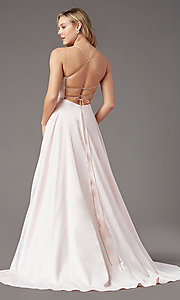 Image of corset long satin formal prom dress by PromGirl. Style: PG-B2001 Detail Image 4