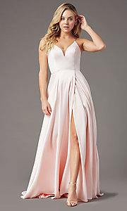 Image of corset long satin formal prom dress by PromGirl. Style: PG-B2001 Detail Image 3