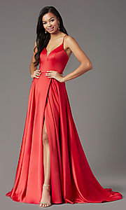 Image of corset long satin formal prom dress by PromGirl. Style: PG-B2001 Detail Image 2