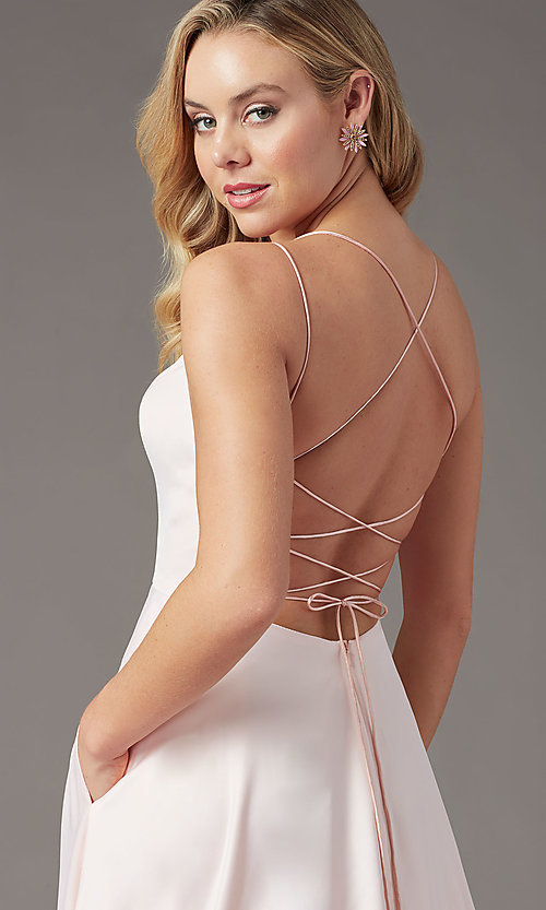 Image of corset long satin formal prom dress by PromGirl. Style: PG-B2001 Detail Image 5