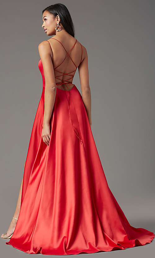 Image of corset long satin formal prom dress by PromGirl. Style: PG-B2001 Back Image