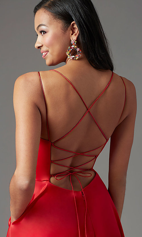 Image of corset long satin formal prom dress by PromGirl. Style: PG-B2001 Detail Image 1