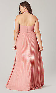 Image of halter long bridesmaid dress with pleats. Style: KL-200197 Back Image