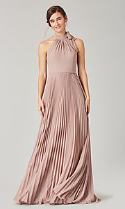 Image of halter long bridesmaid dress with pleats. Style: KL-200197 Detail Image 1