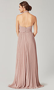 Image of halter long bridesmaid dress with pleats. Style: KL-200197 Detail Image 2