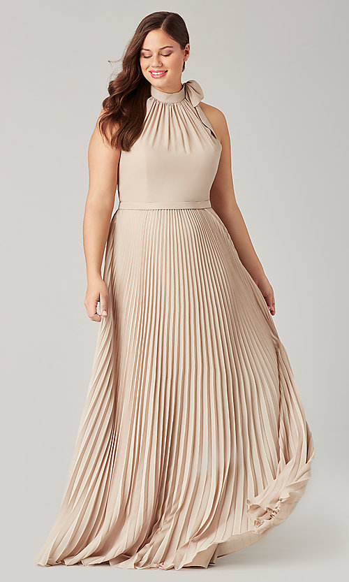 Image of halter long bridesmaid dress with pleats. Style: KL-200197 Detail Image 3