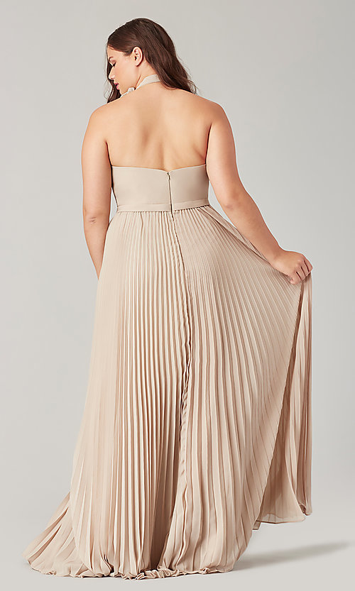 Image of halter long bridesmaid dress with pleats. Style: KL-200197 Detail Image 4