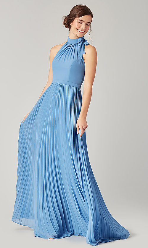 Image of halter long bridesmaid dress with pleats. Style: KL-200197 Detail Image 5