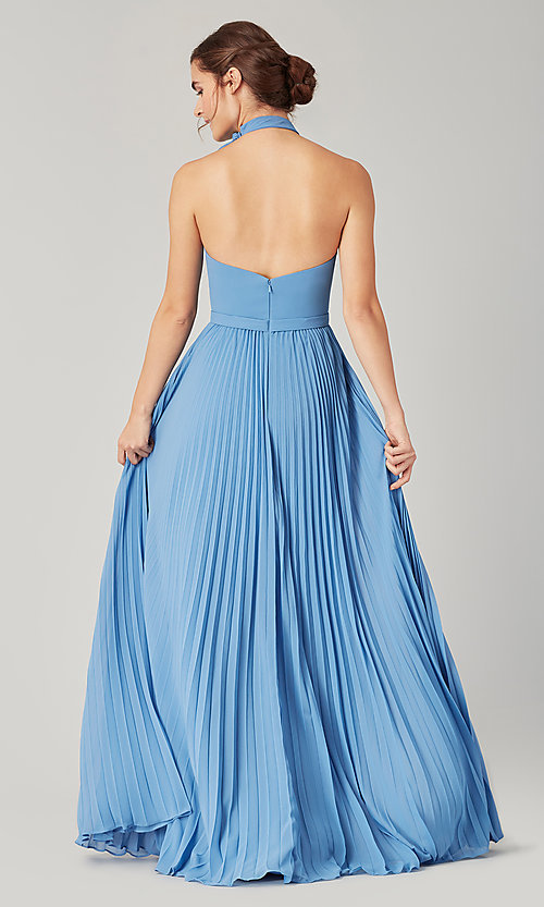 Image of halter long bridesmaid dress with pleats. Style: KL-200197 Detail Image 6