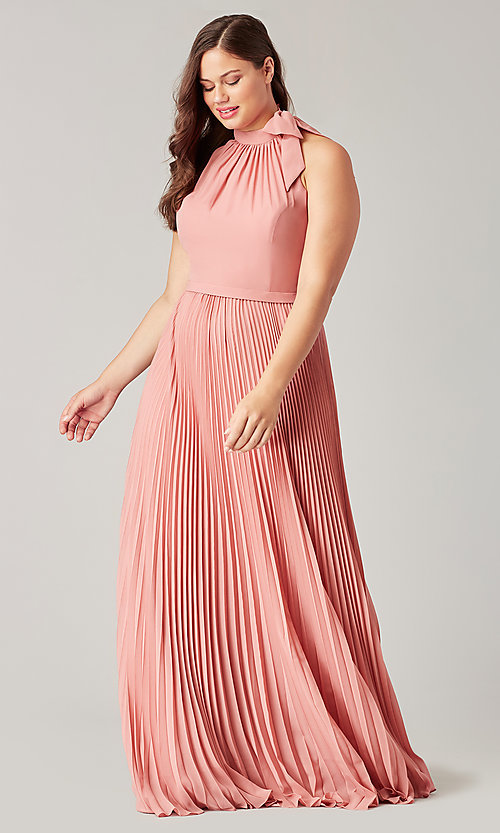 Image of halter long bridesmaid dress with pleats. Style: KL-200197 Front Image