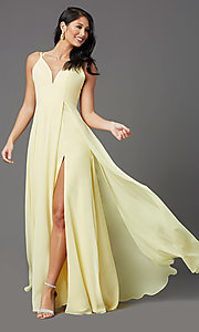 Image of caged-back long formal prom dress by PromGirl. Style: PG-B2002 Front Image