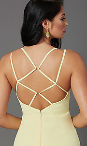 Image of caged-back long formal prom dress by PromGirl. Style: PG-B2002 Detail Image 1