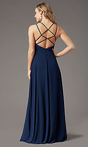 Image of caged-back long formal prom dress by PromGirl. Style: PG-B2002 Detail Image 3