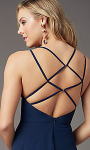 Image of caged-back long formal prom dress by PromGirl. Style: PG-B2002 Detail Image 4