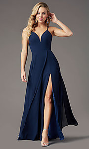 Image of caged-back long formal prom dress by PromGirl. Style: PG-B2002 Detail Image 5