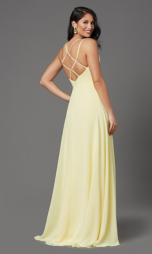 Image of caged-back long formal prom dress by PromGirl. Style: PG-B2002 Back Image