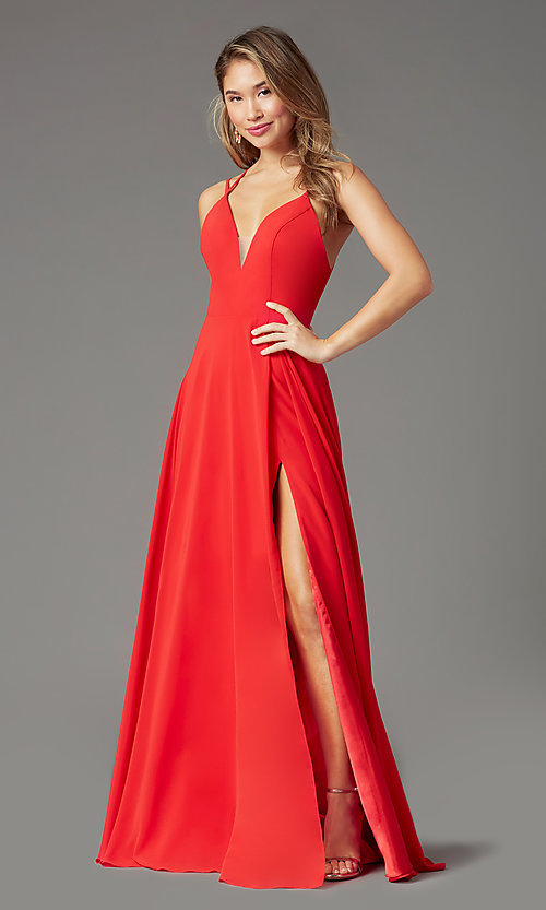 Image of caged-back long formal prom dress by PromGirl. Style: PG-B2002 Detail Image 6