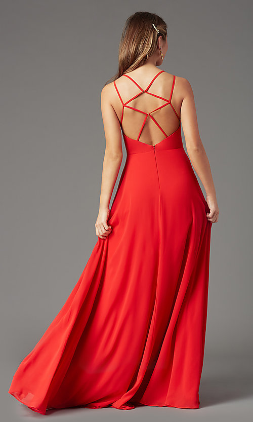 Image of caged-back long formal prom dress by PromGirl. Style: PG-B2002 Detail Image 7