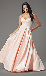 Image of long faux-wrap satin prom dress by PromGirl. Style: PG-B2003 Detail Image 6