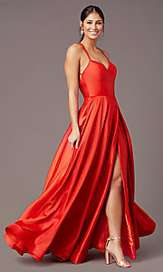 Image of long faux-wrap satin prom dress by PromGirl. Style: PG-B2003 Front Image