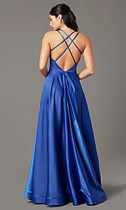 Image of long faux-wrap satin prom dress by PromGirl. Style: PG-B2003 Detail Image 4