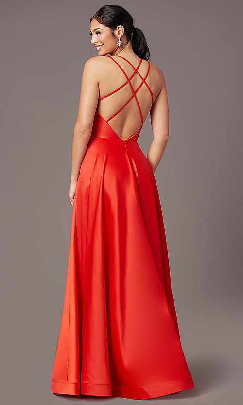 Image of long faux-wrap satin prom dress by PromGirl. Style: PG-B2003 Back Image