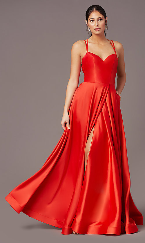 Image of long faux-wrap satin prom dress by PromGirl. Style: PG-B2003 Detail Image 2