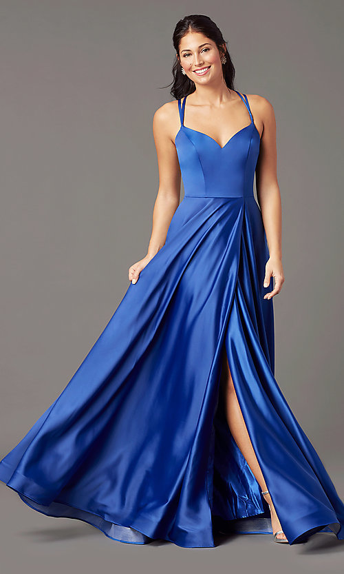 Image of long faux-wrap satin prom dress by PromGirl. Style: PG-B2003 Detail Image 3