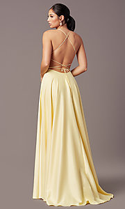 Image of long faux-wrap corset-tie prom dress by PromGirl. Style: PG-B2005 Detail Image 3