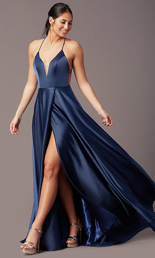 Image of long faux-wrap corset-tie prom dress by PromGirl. Style: PG-B2005 Front Image