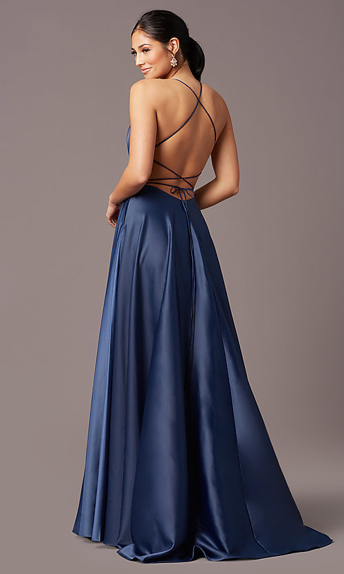 Image of long faux-wrap corset-tie prom dress by PromGirl. Style: PG-B2005 Back Image