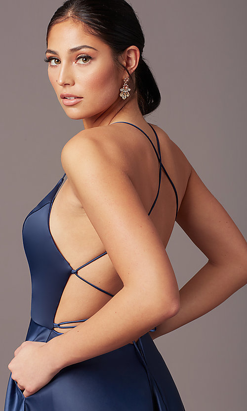 Image of long faux-wrap corset-tie prom dress by PromGirl. Style: PG-B2005 Detail Image 1