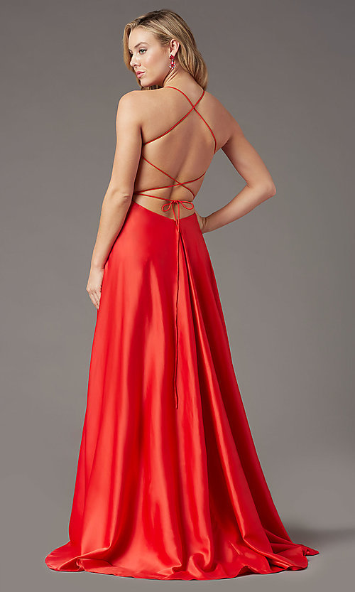 Image of long faux-wrap corset-tie prom dress by PromGirl. Style: PG-B2005 Detail Image 6