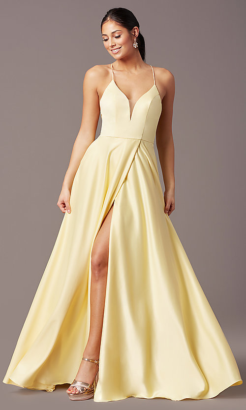 Image of long faux-wrap corset-tie prom dress by PromGirl. Style: PG-B2005 Detail Image 2
