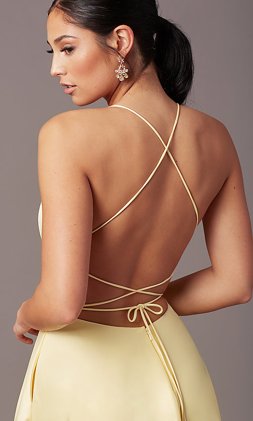 Image of long faux-wrap corset-tie prom dress by PromGirl. Style: PG-B2005 Detail Image 4
