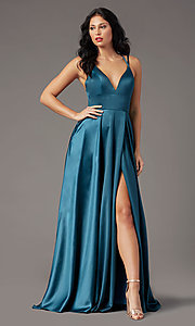 Image of satin a-line long formal prom dress by PromGirl. Style: PG-B2008 Detail Image 1