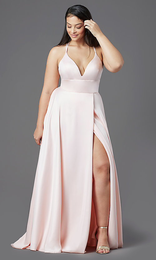 Image of satin a-line long formal prom dress by PromGirl. Style: PG-B2008 Detail Image 5