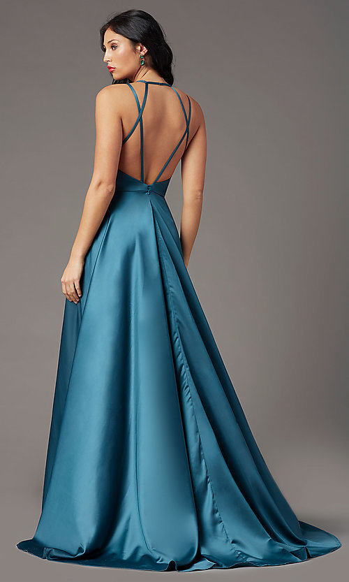 Image of satin a-line long formal prom dress by PromGirl. Style: PG-B2008 Back Image