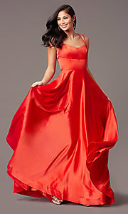 Image of open-back long satin formal prom dress by PromGirl. Style: PG-B2010 Detail Image 6