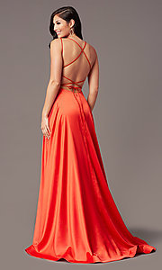 Image of open-back long satin formal prom dress by PromGirl. Style: PG-B2010 Detail Image 7