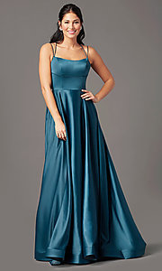 Image of open-back long satin formal prom dress by PromGirl. Style: PG-B2010 Detail Image 5