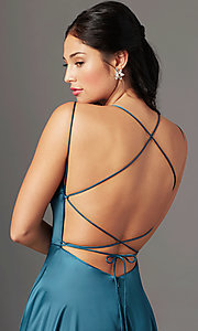 Image of open-back long satin formal prom dress by PromGirl. Style: PG-B2010 Detail Image 4
