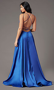 Image of open-back long satin formal prom dress by PromGirl. Style: PG-B2010 Back Image